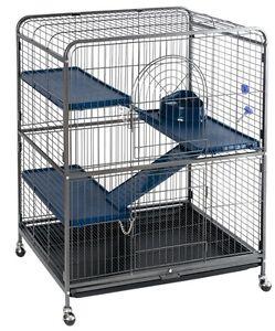 Jaula-pequena-Rata-Huron-Chinchilla-Ardilla-Casa-de-Mascotas-casa-de-seguridad-ruedas-W-de-metal