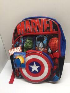 """Marvel Backpack Avengers Spider-Man Hulk Captain America 16/"""" NWT"""