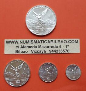 MEXICO-1-2-1-4-1-10-1-20-ONZA-2002-Serie-LIBERTAD-UNC-4x-SILVER-COINS-OZ-Mejico