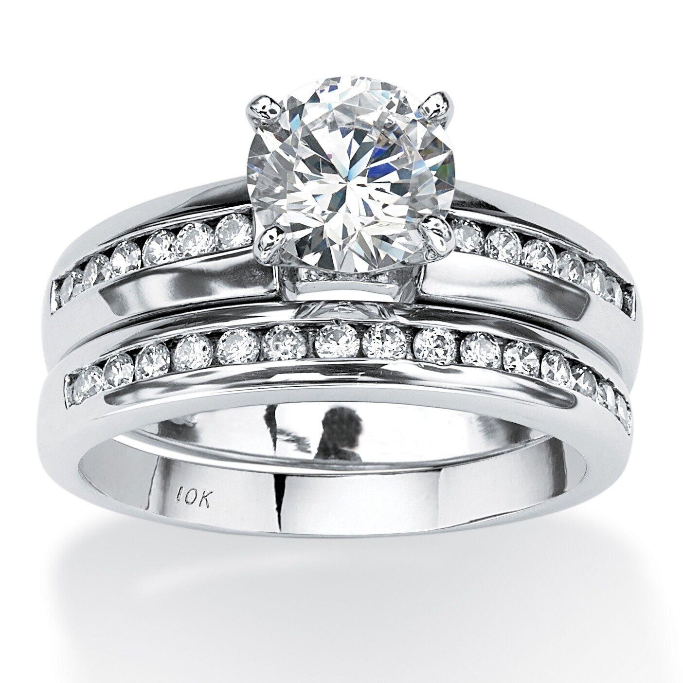 WEDDING ENGAGEMENT ROUND CZ HALO 10K WHITE gold RING  6 7 8 9 10