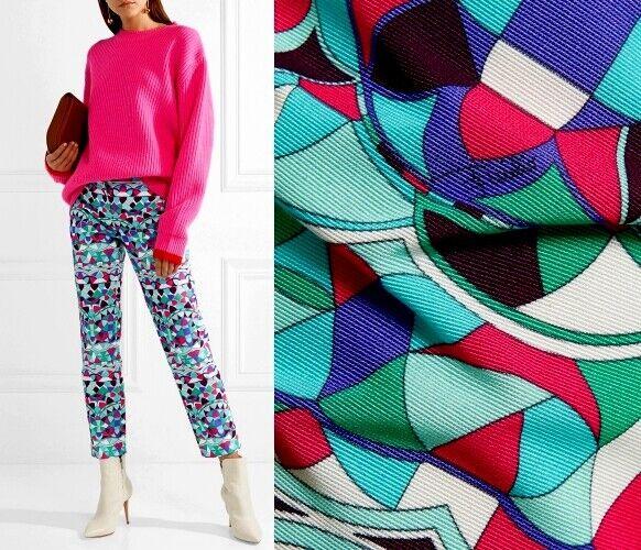 EMILIO PUCCI Cropped cotton-blend faille straight-leg pants  US 14 I T 48