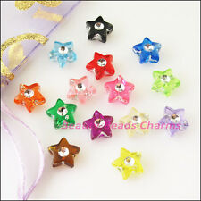 100Pcs Mixed Acrylic Plastic Five-pointed Star Spacer Beads Charms 9mm