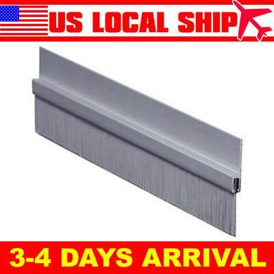 "Brush Door Bottom Sweep Clear Anodized Aluminum 0.625/"" Gray Nylon Brush Insert"