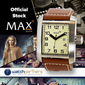MAX-CLASSIC-SQUARE-WATCH-YELLOW-DIAL-BROWN-LEATHER-STRAP-40X42mm-5-MAX360