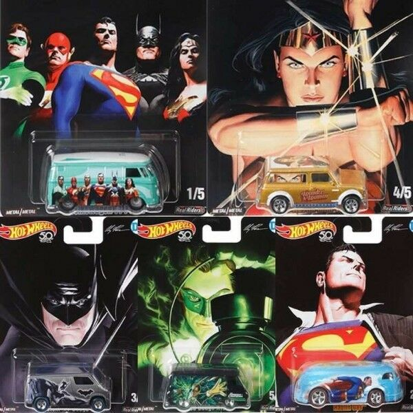2018 Hot Wheels 50th Pop Culture DC COMICS, Full Set of 5. (ALEX ROSS)
