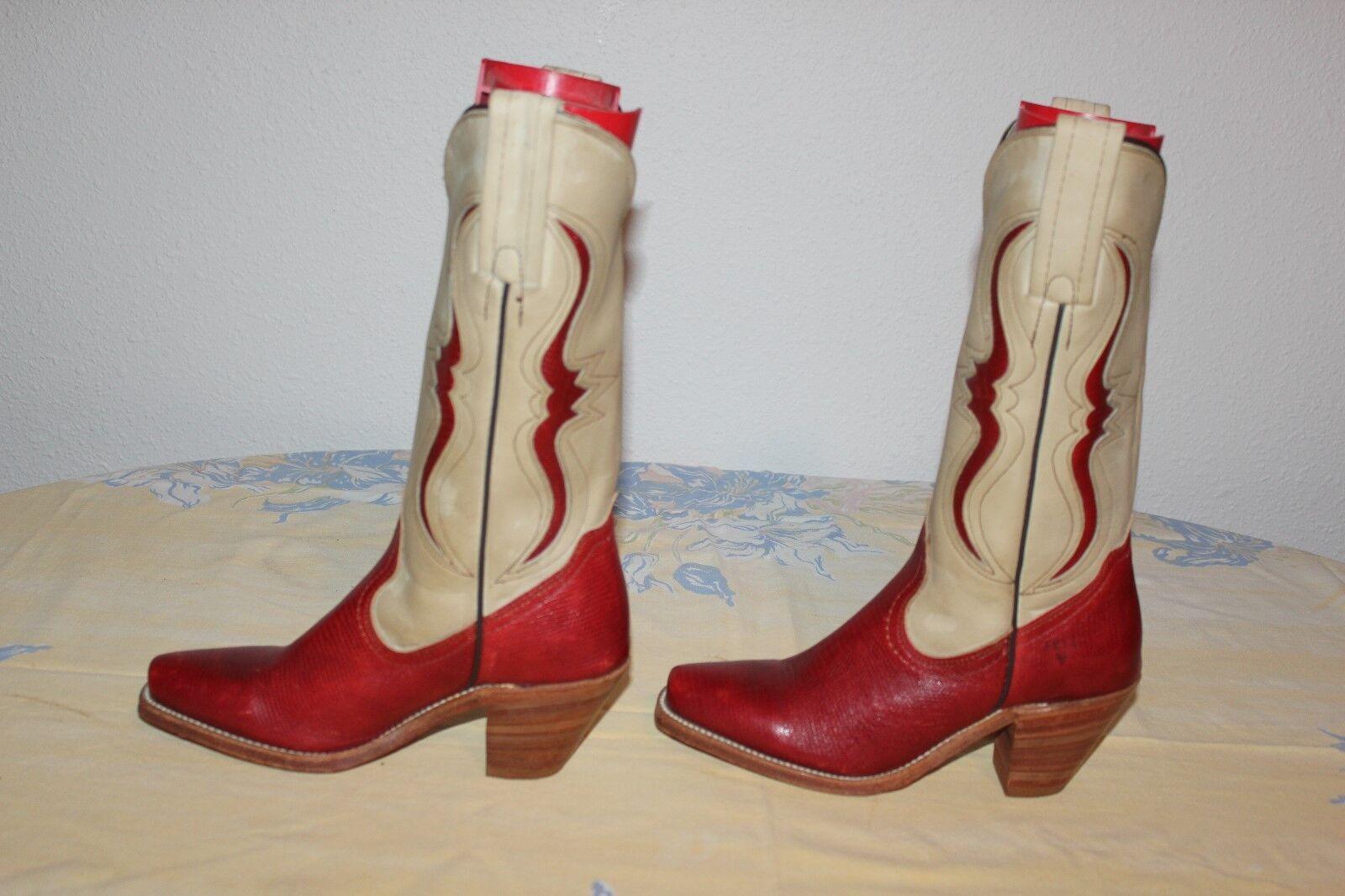 donna's Frye LizardLeather Cowgirl stivali rossoTan 5 ½ B