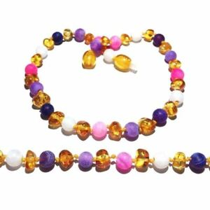 Child Emily Amethyst Pink Purple Agate Honey Baltic Amber Anklet Love Amber X UK