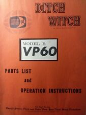 Ditch Witch Tractor Vp60 Model B Vibratory Plow Attachment Owner Amp Parts Manual