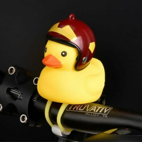 Cute Duck With Helmet Ring Bell Toy For Cycling Bicycle Bike Ride Horn Alarm