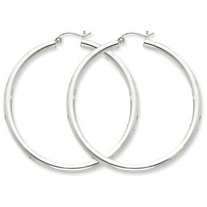 925-Sterling-Silver-Rhodium-Plated-3mm-x-50mm-Round-Polished-Hoop-Earrings