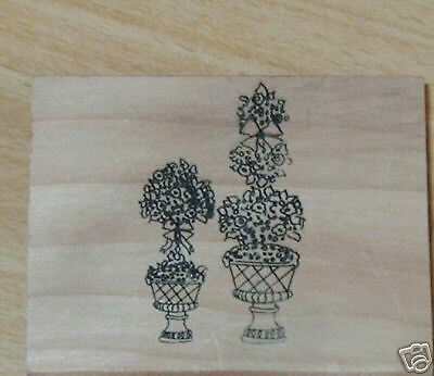 PAPERCRAFT 4 YOU 2 SHRUB BUSHES in PLANT POT Mounted Rubber Stamp ATC Scrapbook