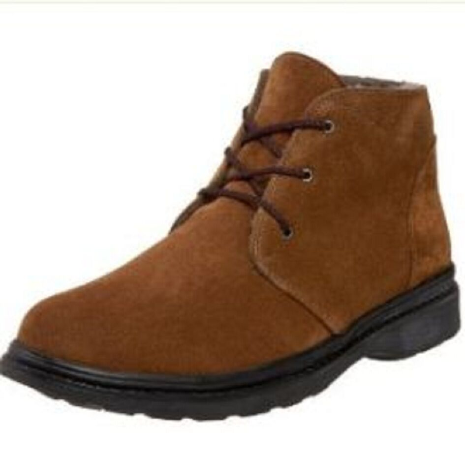 NIB Pajar Max Medium Braun Suede Sheepskin Lined Wide Ankle Boot  Uomo Wide Lined Width d34706