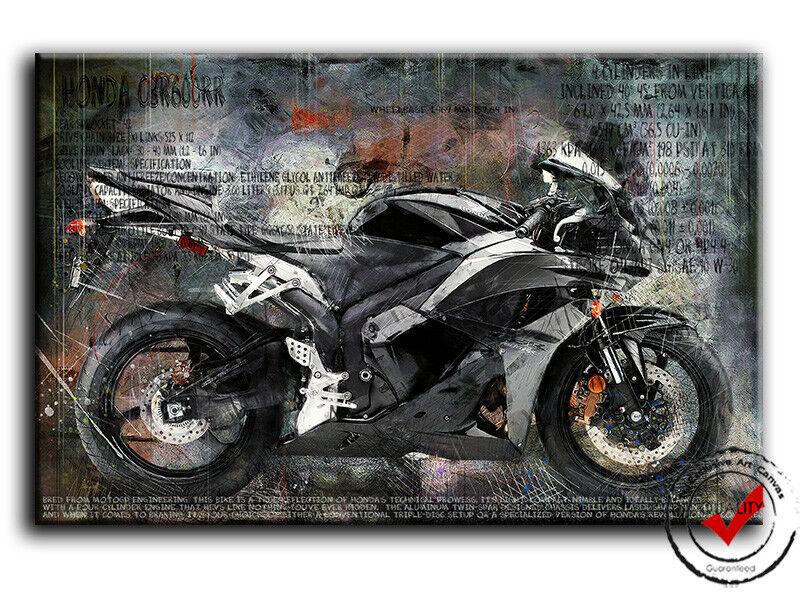 Honda CBR 600 Schwarz Bild Bilder Leinwand Bike Motorrad Wandbild Poster Deko,