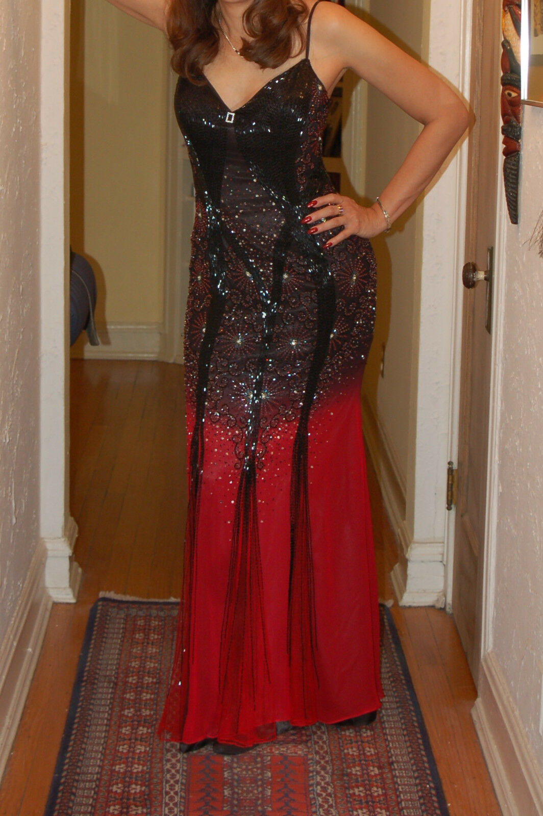 Elegant Beaded Gown Size10 Excellent Condition