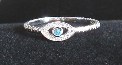 Women 925 sterling silver Religious Lucky Silver Cubic Zircon Evil Eye Ring 5-9