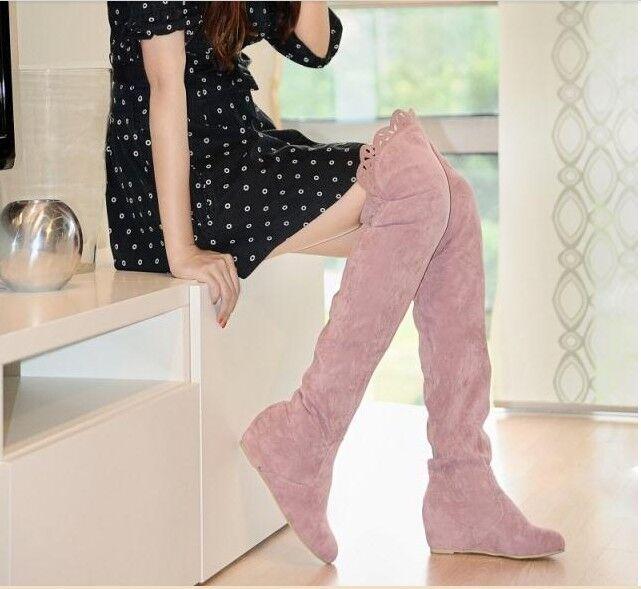 Stiefel sommer frau hälfte schenkel rosa farbe keilabsätze intern ca 7 cm kode