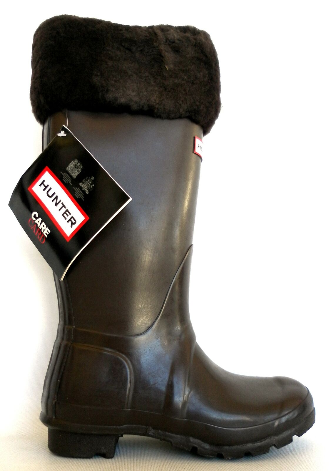 Hunter Women Rain Wellies Boots with Inset Sheepskin Brown