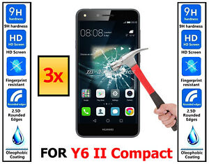 3x-Genuine-100-TEMPERED-GLASS-HD-Screen-Protector-For-Huawei-Y6-II-Compact