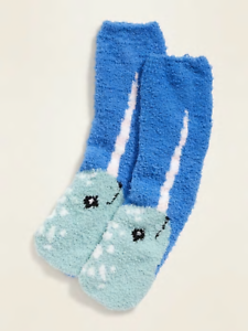 Narwal Old Navy Women/'s Narwhal Whale Cozy Socks Fluffy Fuzzy New