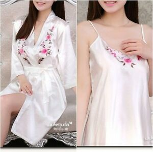 5d8ee772bdc Details about Dressing Gown robe and Chemise Slip 2 Piece Set Nightdress  Bridal Gift S