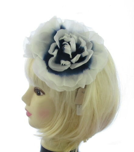 weddings navy and WHITE giant silk flower clip and brooch pin