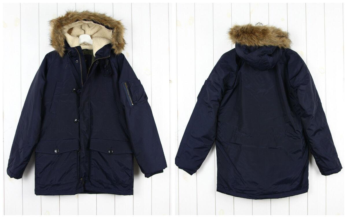 NUOVO Lee Arctic Parka Inverno M/L/XL. Extra Caldo Blu Navy M/L/XL. Inverno XXL 85a099