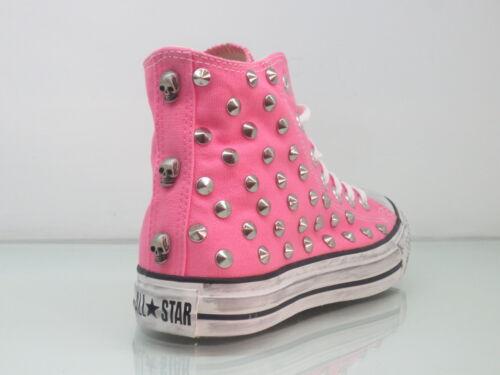 All Converse Hi Scarpe Artigianali Borchie Bianco Rosa Teschi Donna Star Pink 1OOwCgq