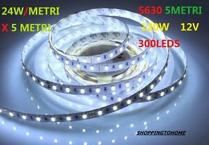 Striscia led strip led bobina 5630 smd luce freddo 300 led for Luce led striscia