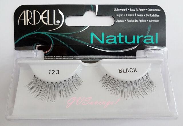 NIB~ Ardell Natural Lashes #123 False Fake Eyelashes Black Falsies Strip