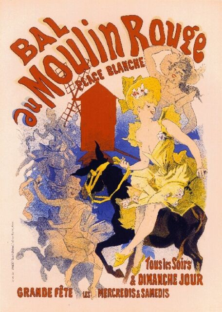 """print  poster for your glass frame 36/"""" x 24/"""" vintage Moulin rouge painting art"""