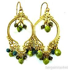 Gold Tone Boho Dangle Chandelier Black /& Gold Bead Gypsy Earrings