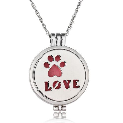 Dog Feet Luminous Prefume Aromatherapy Essential Oil Diffuser Locket Necklace
