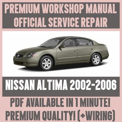 WORKSHOP MANUAL SERVICE & REPAIR GUIDE for NISSAN ALTIMA 2002-2006 ...