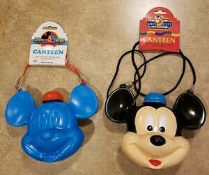 Lot-of-2-New-Vintage-Mickey-Mouse-Plastic-Canteens-NWT-Disney-World-Disneyland