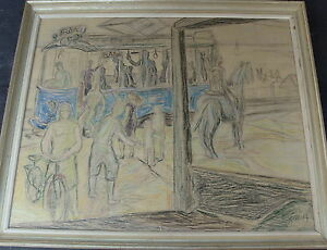 Gunnar-Jonn-1904-1963-Strassenbahn-nach-Raa-Pastell-ueber-Bleistift-dat-1947