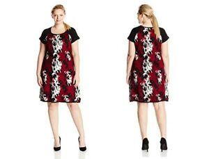 Taylor Dresses Plus-Size Printed Cap Sleeve Fit and Flare Sweater ...