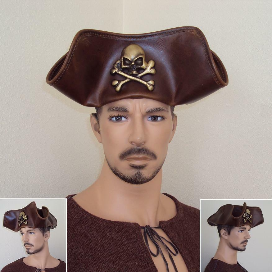 Skull /& Crossbones Brown Leather Pirate Tricorn Hat Re-enactment Stage Costume