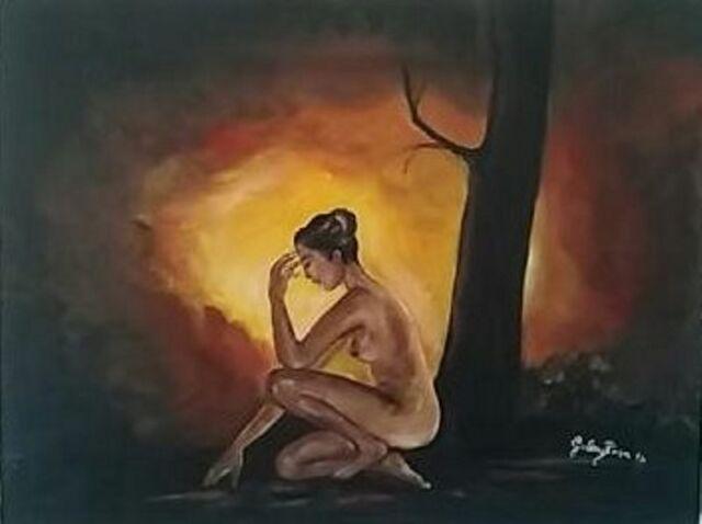 Olio su tela, quadro, quadri, donna, paesaggio, nudo, arte, arredo