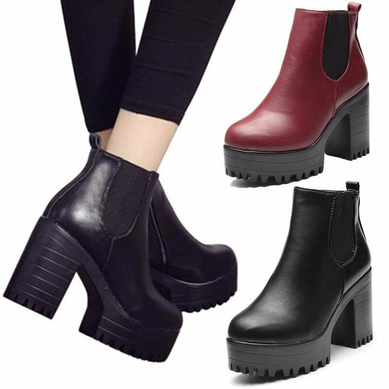 Punk Womens Ankle Boots Chelsea Chunky Platform High Hidden Heel Combat shoes