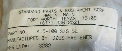 D4-AJ5-100-SS Lot of 10 New Dzus fastener P//N AJ5-100 Stainless Steel