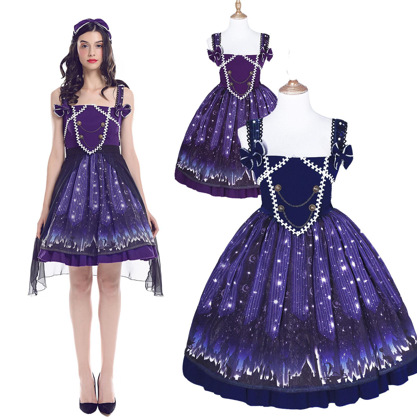 Starry Sky Printed Strap Skirt Bowknot Sleeveless JSK Princess Lolita Dress Gift
