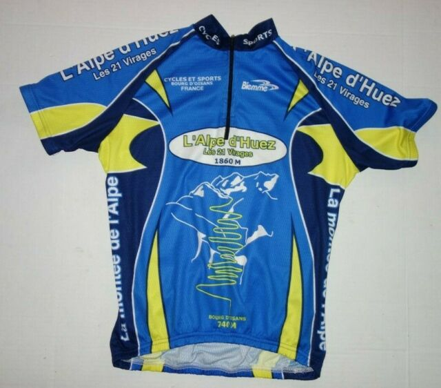 Biemme Alpe d'huez Bicycle Cycling Jersey Mens Medium blue France Short Sleeve