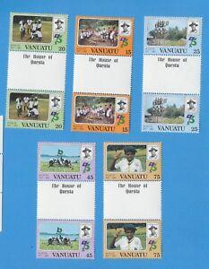 VANUATU-Scott-337-341-Gouttiere-paires-vfmnh-scouts-1982