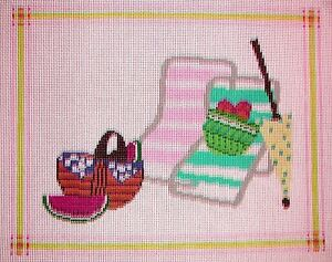JG-Picnic-on-the-Beach-Handpainted-Needlepoint-Picture-or-Pillow-Canvas