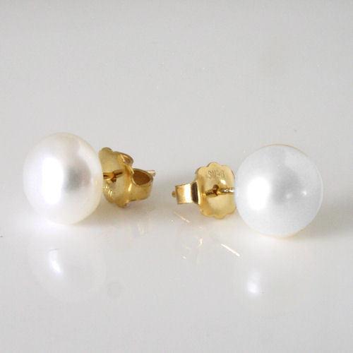 Nouveau 14k or Jaune 8 Mm Blanc Lisse Véritable Eau Douce Perle Boucles D/'oreilles Clou