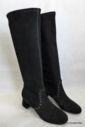 COACH Black Suede Leather Pull-on Studded Boots BR