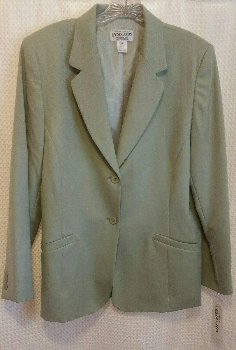 PENDLETON NWT Women's Green 2 Piece Lined Lined Lined Skirt Suit Set Sz 14 USA Made 89dd72