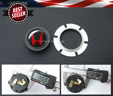 "Red H Center Steering wheel 2 Contacts 1.95"" Horn Button w/ Metal Retainer"
