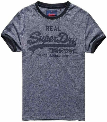 SUPERDRY Men/'s Tee Vintage Logo Ringer T-shirt Brooklyn Blue Grit Size Small