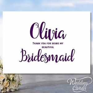Thank You For Being My Bridesmaid Maid Of Honour Witness Flower Girl